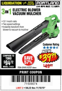 Harbor Freight Coupon 3 IN 1 ELECTRIC BLOWER VACUUM MULCHER Lot No. 62469/62337 Expired: 11/10/19 - $39.99