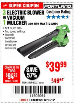 Harbor Freight Coupon 3 IN 1 ELECTRIC BLOWER VACUUM MULCHER Lot No. 62469/62337 Expired: 12/15/19 - $39.99