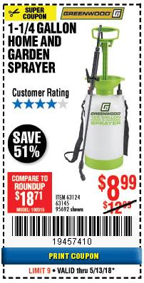 Harbor Freight Coupon 1-1/4 GALLON SPRAYER Lot No. 95692/61280/63124/63145 Expired: 5/13/18 - $8.99