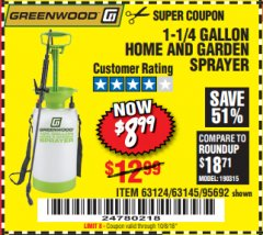 Harbor Freight Coupon 1-1/4 GALLON SPRAYER Lot No. 95692/61280/63124/63145 Expired: 10/8/18 - $8.99