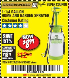 Harbor Freight Coupon 1-1/4 GALLON SPRAYER Lot No. 95692/61280/63124/63145 Expired: 9/30/18 - $8.99