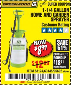 Harbor Freight Coupon 1-1/4 GALLON SPRAYER Lot No. 95692/61280/63124/63145 Expired: 10/14/18 - $8.99