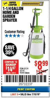 Harbor Freight Coupon 1-1/4 GALLON SPRAYER Lot No. 95692/61280/63124/63145 Expired: 7/15/18 - $8.99