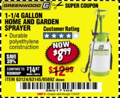 Harbor Freight Coupon 1-1/4 GALLON SPRAYER Lot No. 95692/61280/63124/63145 Expired: 11/3/18 - $8.99