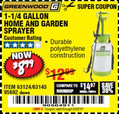 Harbor Freight Coupon 1-1/4 GALLON SPRAYER Lot No. 95692/61280/63124/63145 Expired: 6/30/19 - $8.99