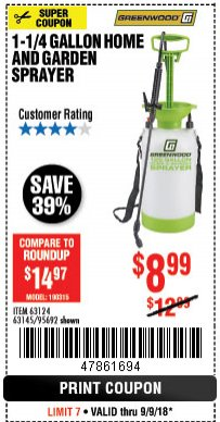 Harbor Freight Coupon 1-1/4 GALLON SPRAYER Lot No. 95692/61280/63124/63145 Expired: 9/9/18 - $8.99