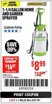 Harbor Freight Coupon 1-1/4 GALLON SPRAYER Lot No. 95692/61280/63124/63145 Expired: 3/31/19 - $8.99