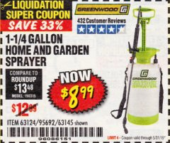 Harbor Freight Coupon 1-1/4 GALLON SPRAYER Lot No. 95692/61280/63124/63145 Expired: 5/31/19 - $8.99