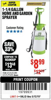 Harbor Freight Coupon 1-1/4 GALLON SPRAYER Lot No. 95692/61280/63124/63145 Expired: 5/12/19 - $8.99