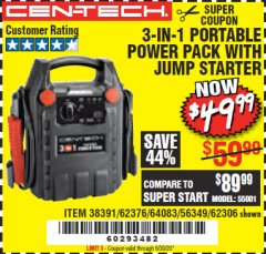 Harbor Freight Coupon 3-IN-1 PORTABLE POWER PACK WITH JUMP STARTER Lot No. 38391/60657/62306/62376/64083 EXPIRES: 6/30/20 - $49.99