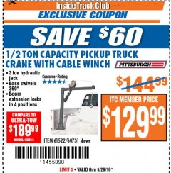 Harbor Freight ITC Coupon 1/2 TON CAPACITY PICKUP CRANE WITH CABLE WINCH Lot No. 61522/60731/37555 Expired: 5/29/18 - $129.99