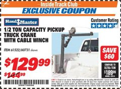 Harbor Freight ITC Coupon 1/2 TON CAPACITY PICKUP CRANE WITH CABLE WINCH Lot No. 61522/60731/37555 Expired: 6/30/18 - $129.99