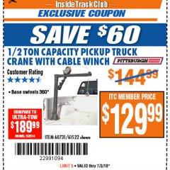Harbor Freight ITC Coupon 1/2 TON CAPACITY PICKUP CRANE WITH CABLE WINCH Lot No. 61522/60731/37555 Expired: 7/3/18 - $129.99