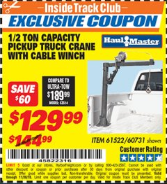 Harbor Freight ITC Coupon 1/2 TON CAPACITY PICKUP CRANE WITH CABLE WINCH Lot No. 61522/60731/37555 Expired: 11/30/18 - $129.99
