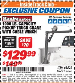 Harbor Freight ITC Coupon 1/2 TON CAPACITY PICKUP CRANE WITH CABLE WINCH Lot No. 61522/60731/37555 Dates Valid: 12/31/69 - 5/31/19 - $129.99