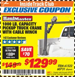 Harbor Freight ITC Coupon 1/2 TON CAPACITY PICKUP CRANE WITH CABLE WINCH Lot No. 61522/60731/37555 Valid Thru: 9/30/19 - $129.99