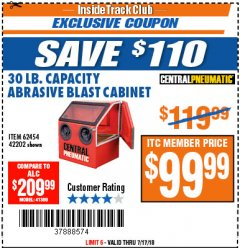 Harbor Freight ITC Coupon 30 LB. CAPACITY ABRASIVE BENCHTOP BLAST CABINET Lot No. 62454/42202 Expired: 7/17/18 - $99.99