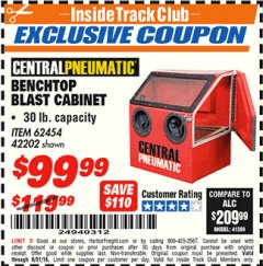 Harbor Freight ITC Coupon 30 LB. CAPACITY ABRASIVE BENCHTOP BLAST CABINET Lot No. 62454/42202 Expired: 8/31/18 - $99.99