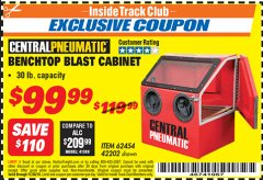 Harbor Freight ITC Coupon 30 LB. CAPACITY ABRASIVE BENCHTOP BLAST CABINET Lot No. 62454/42202 Expired: 11/30/18 - $99.99