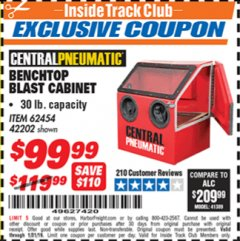 Harbor Freight ITC Coupon 30 LB. CAPACITY ABRASIVE BENCHTOP BLAST CABINET Lot No. 62454/42202 Expired: 1/31/19 - $99.99