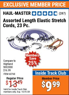 Harbor Freight ITC Coupon 23 PIECE ASSORTED LENGTH ELASTIC STRETCH CORDS Lot No. 60760/46736 Expired: 10/31/20 - $9.99