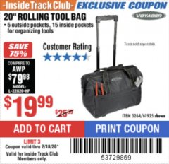 "Harbor Freight ITC Coupon 20"" ROLLAWAY TOOL BAG Lot No. 3264/61925 Expired: 2/18/20 - $19.99"