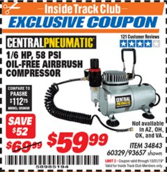 Harbor Freight ITC Coupon 58 PSI OILLESS AIRBRUSH COMPRESSOR Lot No. 69433/60329/93657 Expired: 10/31/19 - $59.99