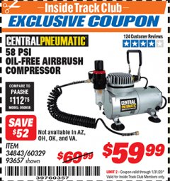 Harbor Freight ITC Coupon 58 PSI OILLESS AIRBRUSH COMPRESSOR Lot No. 69433/60329/93657 Valid: 1/1/20 - 1/31/20 - $59.99