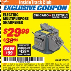 Harbor Freight ITC Coupon MULTIPURPOSE SHARPENER Lot No. 99823 Expired: 2/28/19 - $29.99