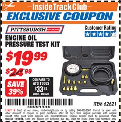 Harbor Freight ITC Coupon ENGINE OIL PRESSURE TEST KIT Lot No. 62621/98949 Expired: 11/30/18 - $19.99