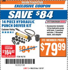 Harbor Freight ITC Coupon 14 PIECE HYDRAULIC PUNCH DRIVER KIT Lot No. 96718/56411 Expired: 1/9/19 - $79.99