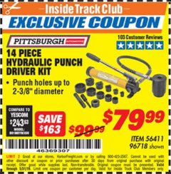Harbor Freight ITC Coupon 14 PIECE HYDRAULIC PUNCH DRIVER KIT Lot No. 96718/56411 Dates Valid: 5/3/19 - 5/31/19 - $79.99
