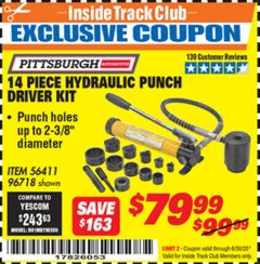 Harbor Freight ITC Coupon 14 PIECE HYDRAULIC PUNCH DRIVER KIT Lot No. 96718/56411 Dates Valid: 12/31/69 - 6/30/20 - $79.99