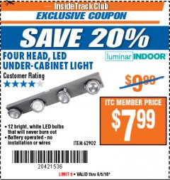 Harbor Freight ITC Coupon FOUR HEAD, LED UNDER-CABINET LIGHT Lot No. 96794 Expired: 6/5/18 - $7.99