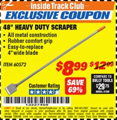 "Harbor Freight ITC Coupon 48"" HEAVY DUTY SCRAPER Lot No. 60572 Expired: 7/31/18 - $8.99"