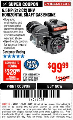 Harbor Freight ITC Coupon PREDATOR 6.5 HP (212 CC) OHV HORIZONTAL SHAFT GAS ENGINES Lot No. 60363/68120/69730/68121/69727 Expired: 1/10/19 - $99.99