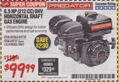 Harbor Freight Coupon PREDATOR 6.5 HP (212 CC) OHV HORIZONTAL SHAFT GAS ENGINES Lot No. 60363/68120/69730/68121/69727 Expired: 1/31/18 - $99.99