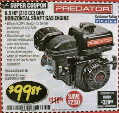 Harbor Freight Coupon PREDATOR 6.5 HP (212 CC) OHV HORIZONTAL SHAFT GAS ENGINES Lot No. 60363/68120/69730/68121/69727 Expired: 2/28/18 - $99.84