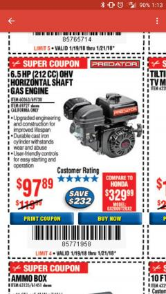 Harbor Freight Coupon PREDATOR 6.5 HP (212 CC) OHV HORIZONTAL SHAFT GAS ENGINES Lot No. 60363/68120/69730/68121/69727 Expired: 1/21/18 - $97.89