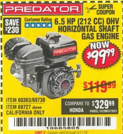 Harbor Freight Coupon PREDATOR 6.5 HP (212 CC) OHV HORIZONTAL SHAFT GAS ENGINES Lot No. 60363/68120/69730/68121/69727 Expired: 4/11/18 - $99.99