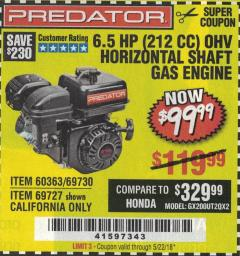 Harbor Freight Coupon PREDATOR 6.5 HP (212 CC) OHV HORIZONTAL SHAFT GAS ENGINES Lot No. 60363/68120/69730/68121/69727 Expired: 5/22/18 - $99.99