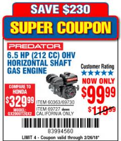 Harbor Freight Coupon PREDATOR 6.5 HP (212 CC) OHV HORIZONTAL SHAFT GAS ENGINES Lot No. 60363/68120/69730/68121/69727 Expired: 2/26/18 - $99.99