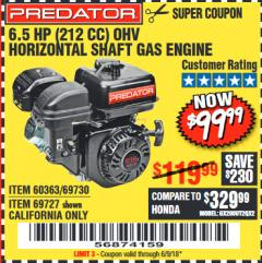 Harbor Freight Coupon PREDATOR 6.5 HP (212 CC) OHV HORIZONTAL SHAFT GAS ENGINES Lot No. 60363/68120/69730/68121/69727 Expired: 6/9/18 - $99.99