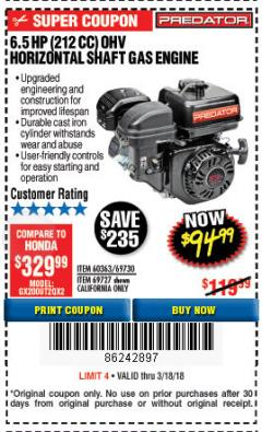 Harbor Freight Coupon PREDATOR 6.5 HP (212 CC) OHV HORIZONTAL SHAFT GAS ENGINES Lot No. 60363/68120/69730/68121/69727 Expired: 3/18/18 - $94.99