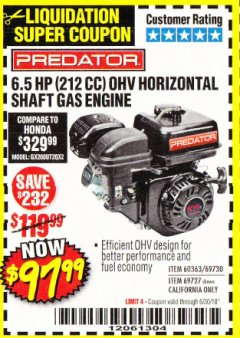Harbor Freight Coupon PREDATOR 6.5 HP (212 CC) OHV HORIZONTAL SHAFT GAS ENGINES Lot No. 60363/68120/69730/68121/69727 Expired: 6/30/18 - $97.99