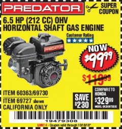 Harbor Freight Coupon PREDATOR 6.5 HP (212 CC) OHV HORIZONTAL SHAFT GAS ENGINES Lot No. 60363/68120/69730/68121/69727 Expired: 10/18/18 - $99.99