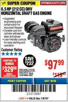 Harbor Freight Coupon PREDATOR 6.5 HP (212 CC) OHV HORIZONTAL SHAFT GAS ENGINES Lot No. 60363/68120/69730/68121/69727 Expired: 7/8/18 - $97.99