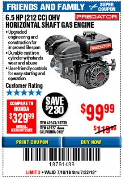 Harbor Freight Coupon PREDATOR 6.5 HP (212 CC) OHV HORIZONTAL SHAFT GAS ENGINES Lot No. 60363/68120/69730/68121/69727 Expired: 7/22/18 - $99.99