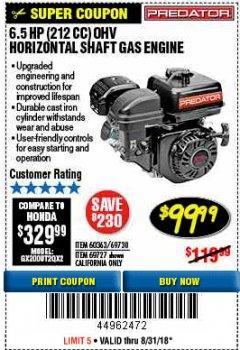 Harbor Freight Coupon PREDATOR 6.5 HP (212 CC) OHV HORIZONTAL SHAFT GAS ENGINES Lot No. 60363/68120/69730/68121/69727 Expired: 8/31/18 - $99.99