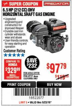 Harbor Freight Coupon PREDATOR 6.5 HP (212 CC) OHV HORIZONTAL SHAFT GAS ENGINES Lot No. 60363/68120/69730/68121/69727 Expired: 9/23/18 - $97.79